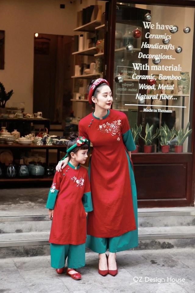 Bộ sưu tập áo dài Tết đẹp mê ly cho mẹ và bé - Ảnh 3.