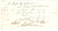 Mrs Rob[ert] Oliphant, to Alex Hutchison. 1843 [Feb] 4th - [...] [...]. (total) £-/11/5. Settled, Alex Hutchison.