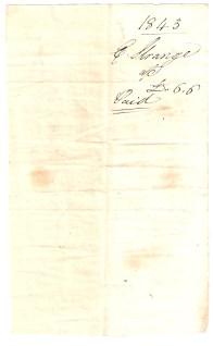 1843, [.] Strange, £-/6/6, Paid