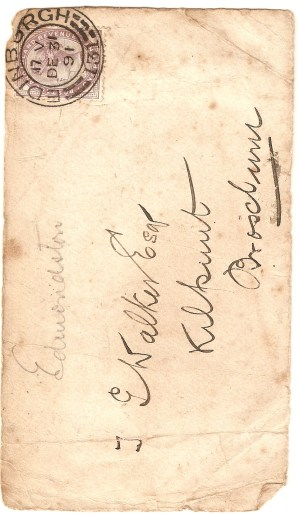 Front of an envelope, addressed to Thomas George Walker, at Kilpunt. Postmarked 31st December 1891.