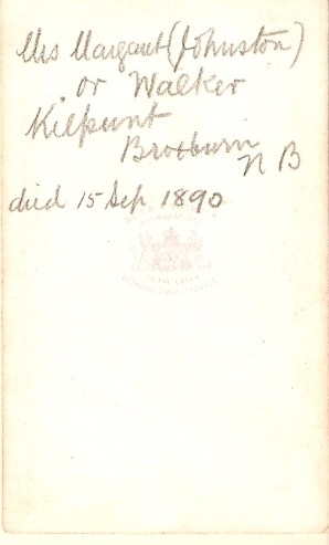 Back of Photo of Margaret JOHNSTON, noting her date of death on 15th Sept. 1890.