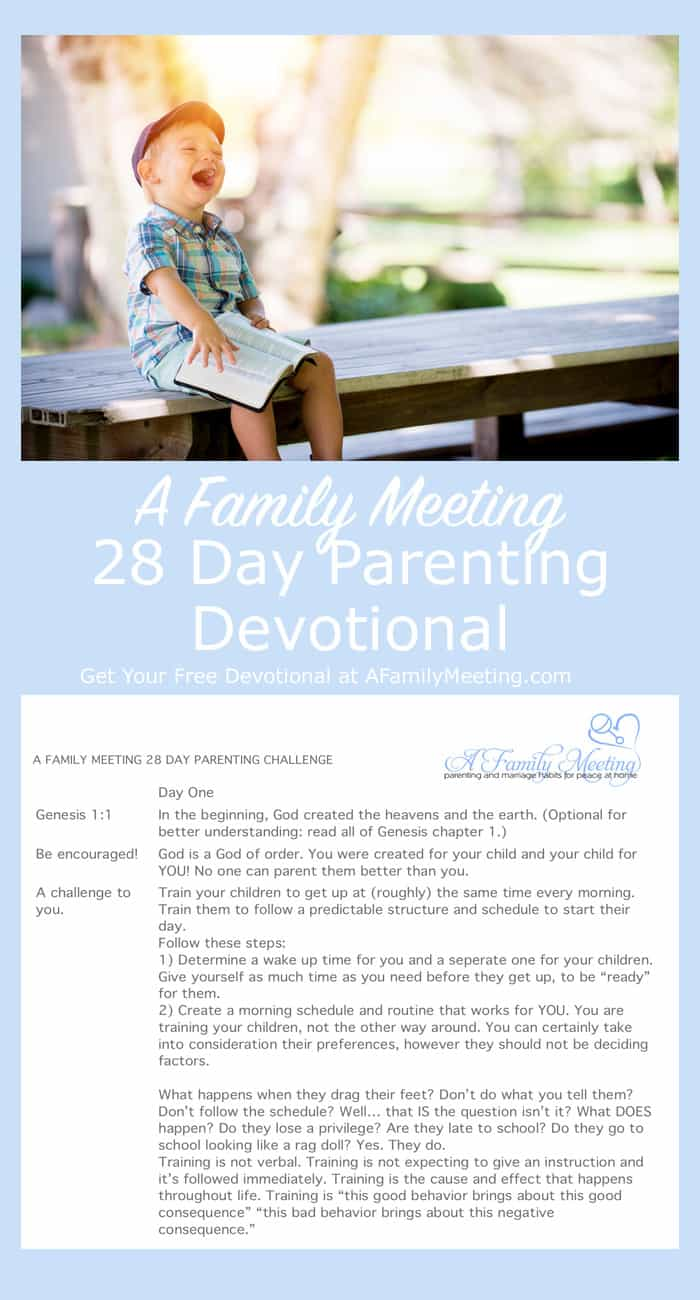 child laughing while holding a bible for 28 day daily parenting devotional