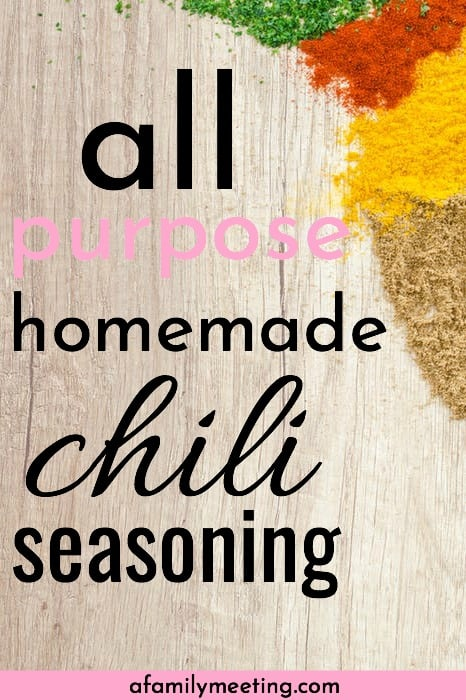 Easy homemade chili seasoning recipe, mild. This recipe can replace those yucky little chili seasoning packets and be used to season a variety of meals. #homemadeseasoning #chiliseasoning #naturalfood