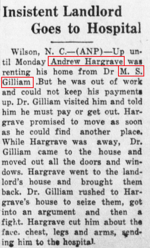 San Antonio Register 8 5 1932 MS Gilliam cut by Hargrave
