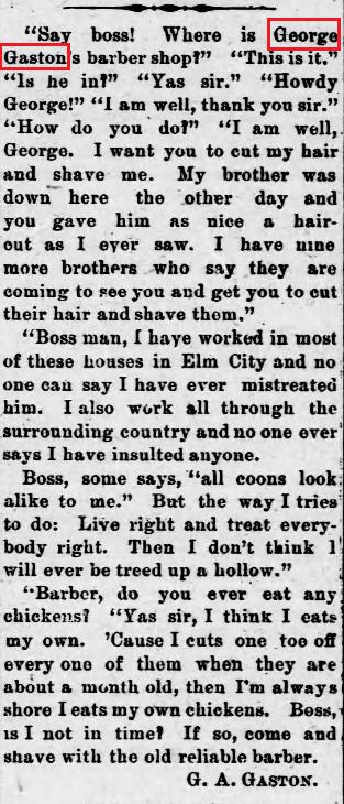 Elm City Elevator 3 21 1902 GA Gaston barber ad