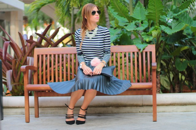 miami fashion blogger, amanda tur, fashion blogger, ray ban, ray ban gold, puff, pouf, stripes, black, navy and white, faux leather, pleated skirt, midi skirt, pearls, dior, zara pumps, zara heels, trends, fishtail braid, braids, pink lips, giginewyork, gigi new york clutch, personalized, gifts, valentines, blogger, miami, miami blogger