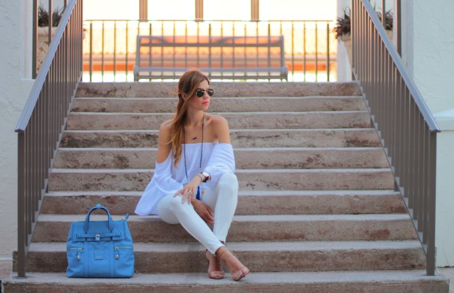 amanda tur miami fashion blogger from miami florida wearing a flowy off the shoulder top and a very minimal look from a fancy affair blog