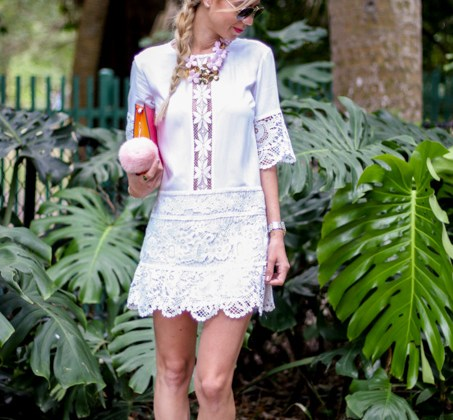 miami fashion blogger amanda tur from a fancy affair blog wearing maruchi white floral dress, blush lace up espadrilles, rayban classic aviator sunglasses and henri bendel west 57th cosmetic pouch, michele deco 20mm watch, phlox colar baublebar necklace and taudey pearl tassel bracelet, blush pouf and side fishtail braid in platinum hair