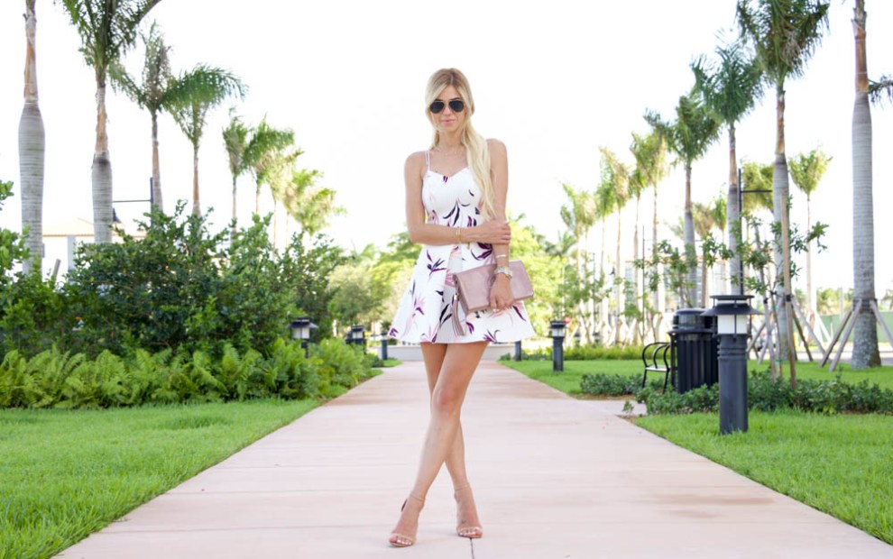 amanda tur from a fancy affair blog, miami top fashion blogger wearing a keepsake dress, nude starppy schutz cadey-lee heels, hair pins, hair extensions, platinum hair, and gucci soho nude patent clutch, michele deco 20mm watch, taudrey personalized and cigar ring, downtown doral
