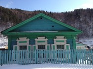 Traditional Siberian house. Apparently blue is the traditional colour too. We saw a lot of them painted blue form the train.