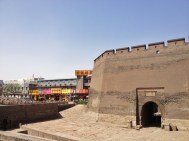 The ancient walls of Pingyao old time. Quite a contrast between the old and new parts of town.