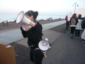 Ava with a megaphone at Take Back the Night
