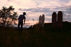 Silhouette of man on Ten Commandments hill