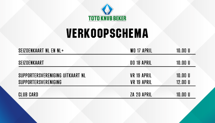 Volledige informatie kaartverkoop KNVB bekerfinale!