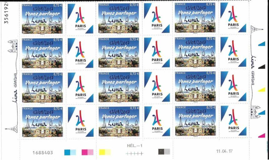 Feuillet de timbres surchargés pour l'élection de Paris 2024 Lima