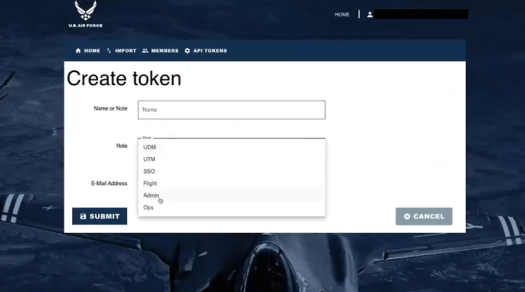 A screenshot of the role-based token creation for the manning application.