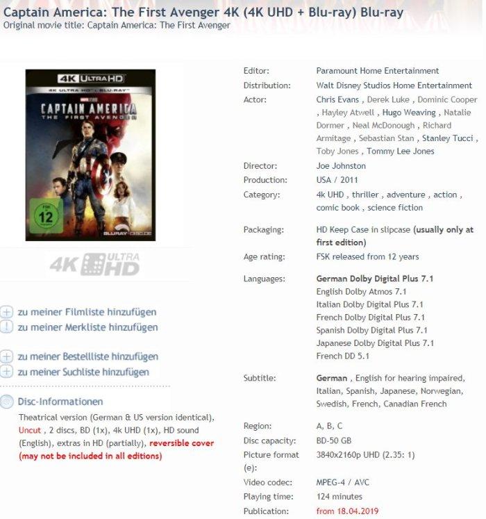 Captain America arriva in Ultra HD a maggio