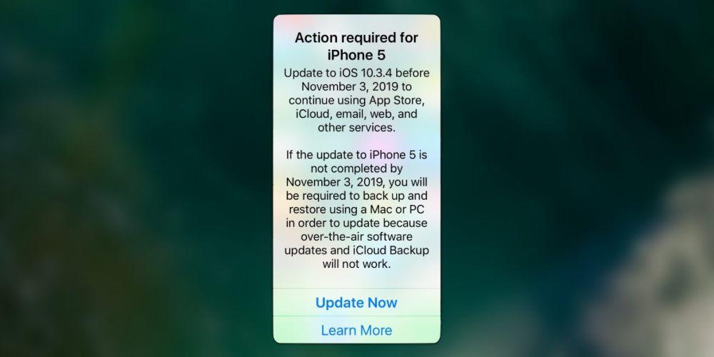 Ultimatum Apple: gli iPhone 5 si devono aggionare a iOS 10.3.4
