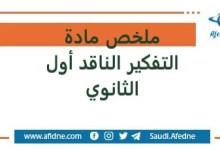 Photo of ملخص مادة التفكير الناقد أول الثانوي