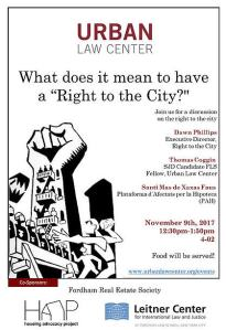 "PAH participated at a Fordham University School of Law panel:  What does it mean to have a ""Right to the City?"""