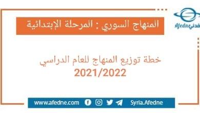 Photo of خطة توزيع المنهاج السوري لصفوف المرحلة الإبتدائية 2021/2022
