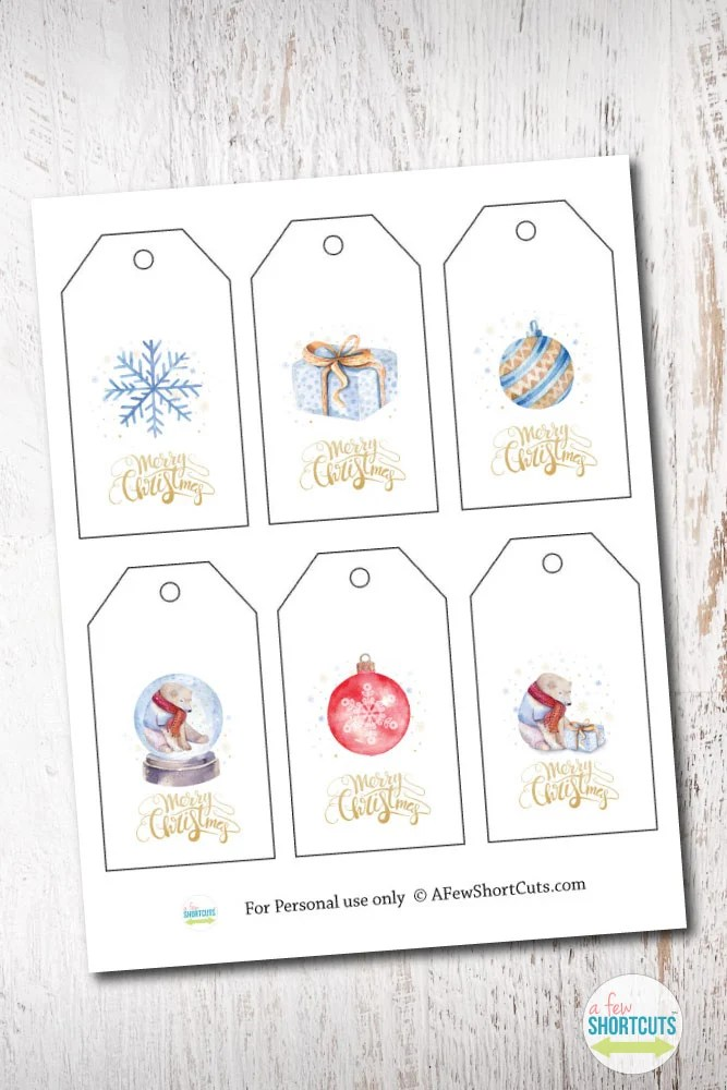 Free Printable Watercolor Holiday Gift Tags A Few Shortcuts