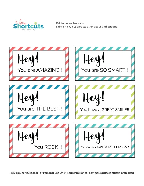 Printable Smile Cards To Pay It Forward Amp 150 CareEnough
