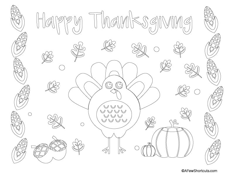 Printable Thanksgiving Coloring Page Placemat For Kids A Few Shortcuts