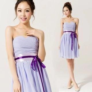 Strapless Tie-Waist Party Dress