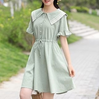 YICON Short-Sleeve Collared A-Line Dress