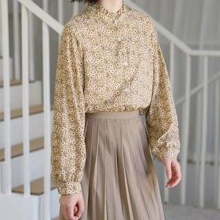KANAMI Long-Sleeve Floral Chiffon Blouse
