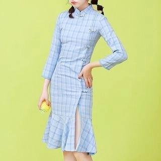 Diosa 3/4-Sleeve Plaid Sheath Dress