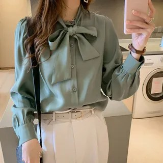 lilygirl Long-Sleeve Bow Accent Blouse