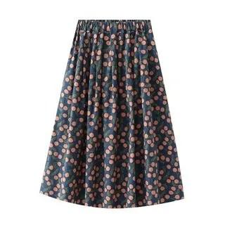 SILHO Cherry Print Midi A-Line Skirt