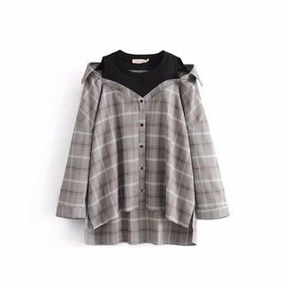 Chicsense Mock Two Piece Long-Sleeved Plaid Blouse