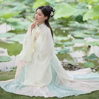 Nuwa Hanfu Set: Long Light Jacket + Camisole Top + Maxi Skirt