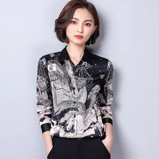 Allury Stand-Collar Long-Sleeved Floral Print Slim Blouse