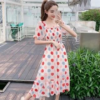 Vanaheim Short-Sleeve Dotted Midi A-Line Dress