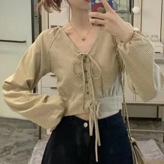 Shinsei Checked Blouse Khaki - One Size