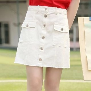 YICON Watermelon Embroidered Buttoned A-Line Skirt