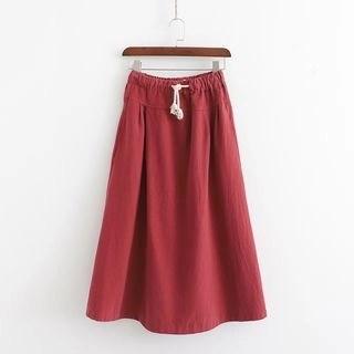 SILHO Drawstring Waist A-Line Midi Skirt