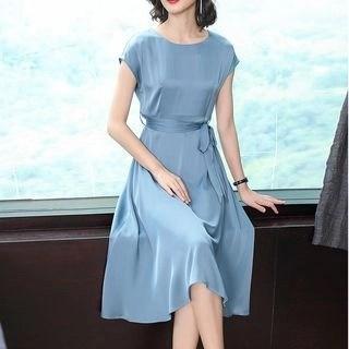 Allury Tie-Waist Cap-Sleeve Midi A-Line Dress