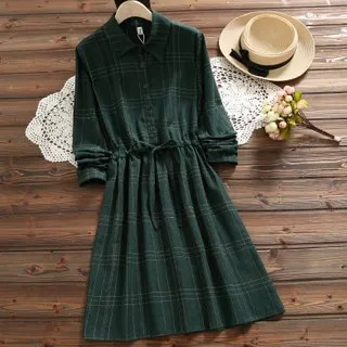 Suzette Plaid Collared A-Line Dress