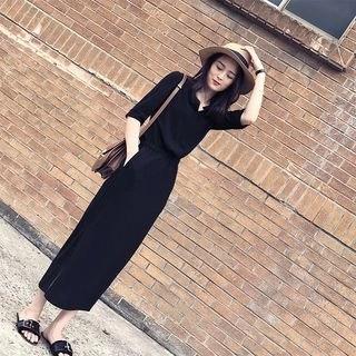Allury 3/4-Sleeve Midi Shirt Dress