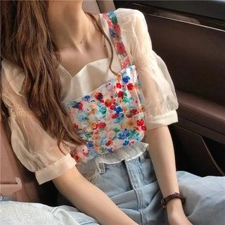 CosmoCorner See-Through Puff-Sleeve Blouse / Sequined Sleeveless Top