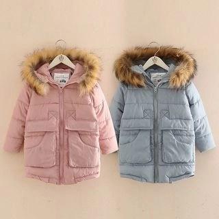 Seashells Kids Kids Faux-Fur Trim Hooded Padded Coat N/A