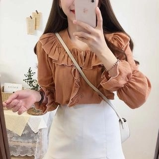 Tangihouse Contrast Trim Ruffled Blouse
