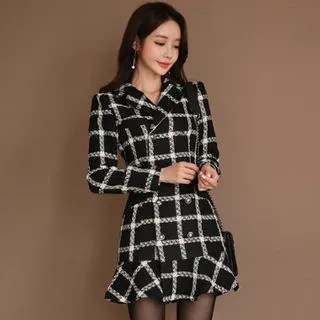 Alberlino Long-Sleeve Plaid Mini Mermaid Dress