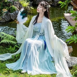 Nuwa Hanfu Set: Camisole + Maxi Skirt + Short-Sleeve Top + Long-Sleeve Top + Tassel