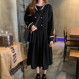 Avox Mock Two-Piece Long-Sleeve Midi Pleated Dress Black - One Size
